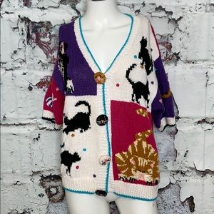 Vintage crazy cat sweater M